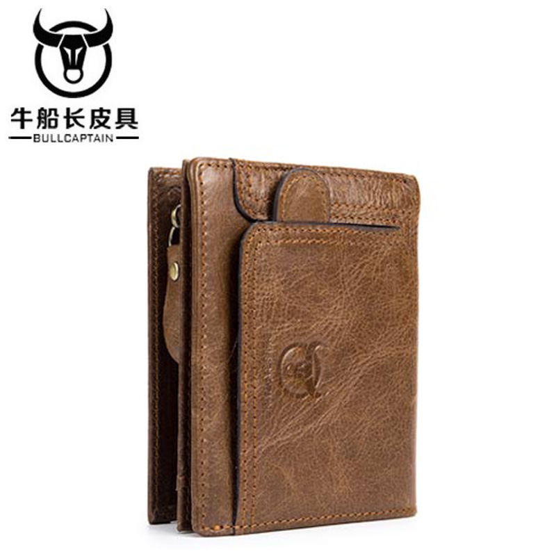 BULLCAPTAIN Brand 2018 New Arrival Mens Wallet Cowhide Coin Purse Designer Wallet clutch leather wallet man wallets and purses in Wallets from Luggage Bags