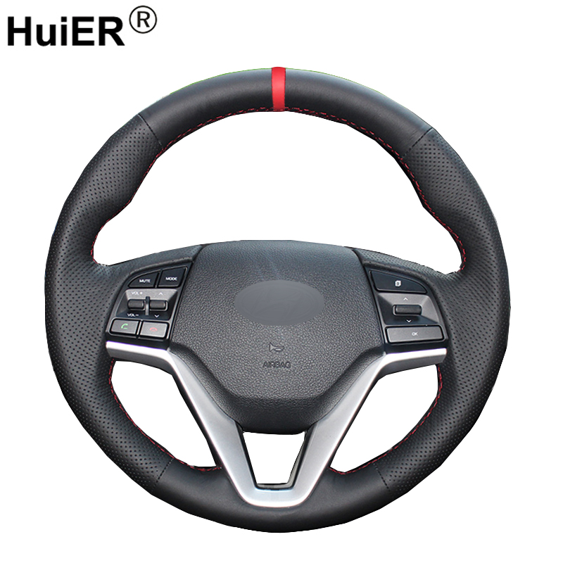 HuiER Hand Sew Car Steering Wheel Cover Red Marker For Hyundai Tucson 2015 2016 Breathable Automobile Car Styling Car Protector