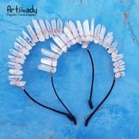 Artilady Raw Crystal Hairbands Handmade Crown Boho Headbands Angel Crown Handmade Hair Jewelry For Women