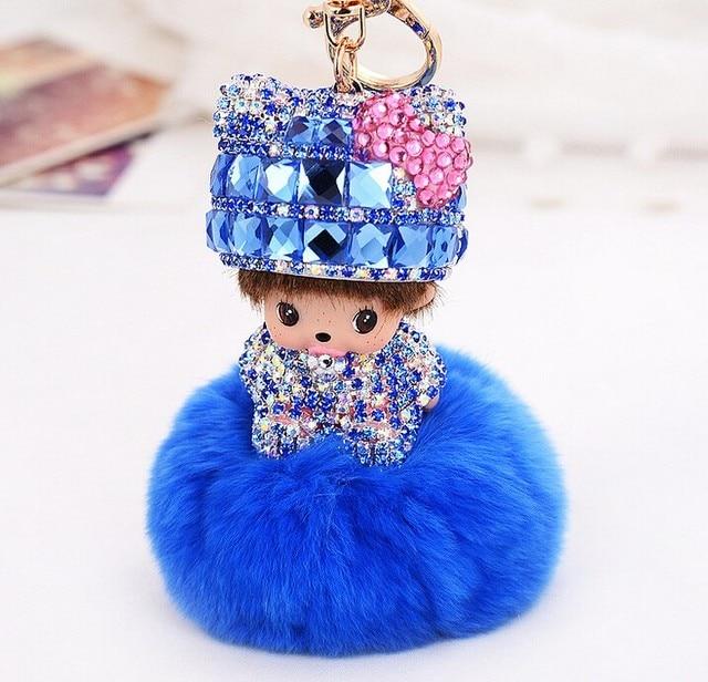Popular Cute Inlay crystal dolls Monchichi KeyChain fur pom pom ball Key chain Car key ring Women Bag Accessories porte clef