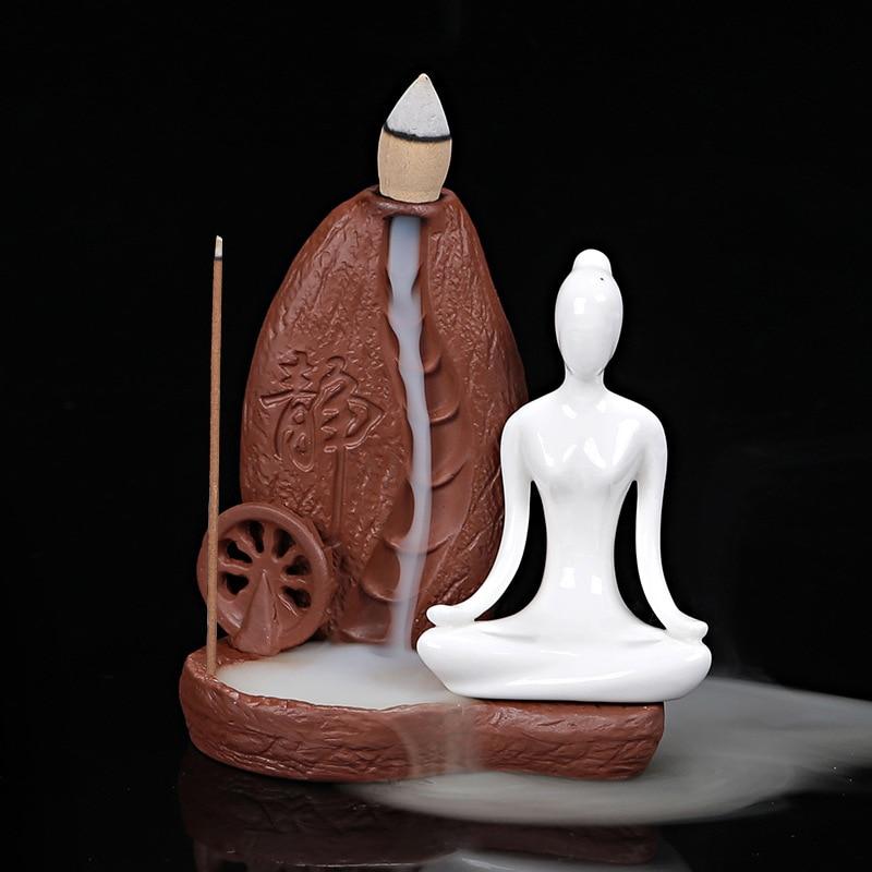 Yoga Asanas Incense Burner with 50 Pcs Incense Cones 4