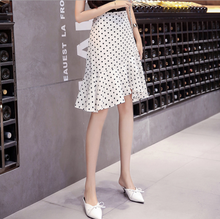 Spring and summer new style New Korean version of the irregular ruffle dress Medium long high waist polka dot dress