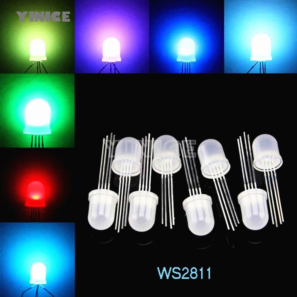 50pcs PL9823 F5 5mm RGB LED round P9823 chipset inside Full color LED