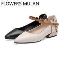 Sweet Flower Back Girl Mary Janes Casual Shoes Woman Pointed Toe One Belt Buckle Zapatos De Mujer Chunky Heel Ballet Shoe Spring