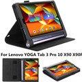 Novo caso de moda para yoga tab 3 mais ímã flip caso tablet para lenovo yoga tab 3 pro 10x90 x90f com slots de cartão titular mão