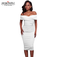 SEBOWEL Summer New Arrival Off The Shoulder Sexy White Bodycon Dress 2017 Sexy Bandage Dress Women