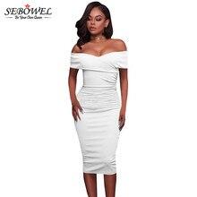 SEBOWEL Summer New Arrival Off The Shoulder Bodycon Sexy Dress 2018 Sexy Bandage Dress Women Elegant Slash Neck Midi White Dress