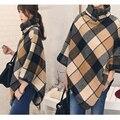 Плюс Размер Мода Осень И Зима Плащ Высокая Шея Batwing Рукавом Плед Свободные Твид Асимметричная Британский Плащ Пальто