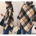 Plus Size Fashion Autumn And Winter Cloak High Neck Batwing Sleeve Plaid Loose Tweed Asymmetric British Cape Coat