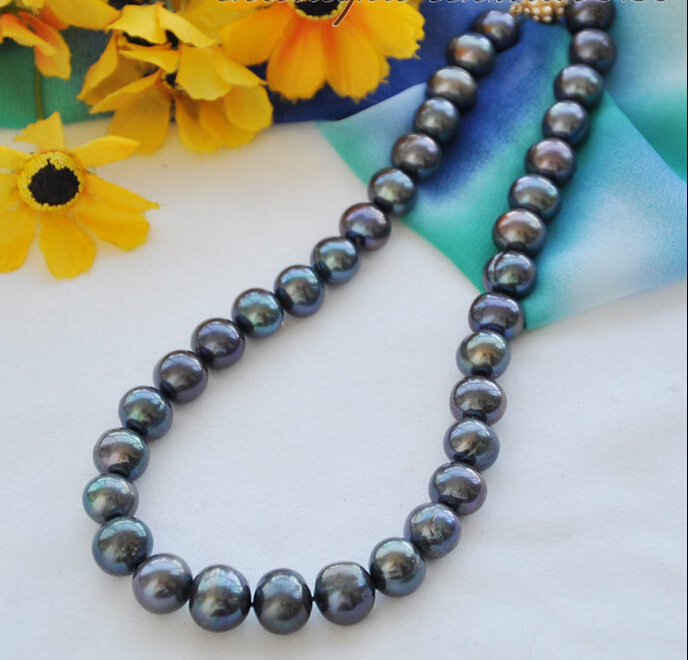 Z4909 Big 12mm black round Freshwater cultured pearl necklace 17inch AAA 50 12mm round black freshwater cultured pearl necklace