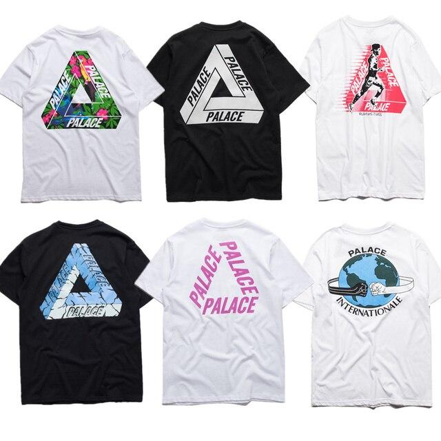 Дворец футболки Женщины Мужчины Высокое Качество 1:1 Лондон Дворец Дворец Скейтборды Треугольник марка одежды Хлопок Футболки Tee футболка