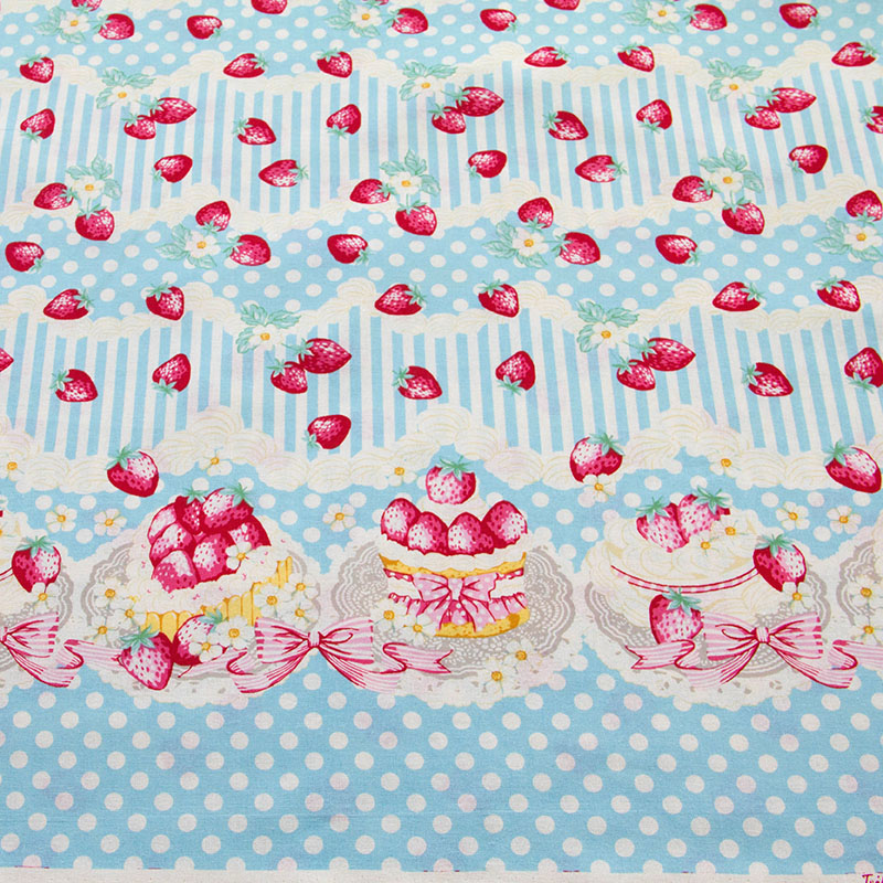50cm*110cm Japanese Printed Cotton Fabric  Patchwork Fabrics Textile Quilting Cloth Fabric for sewing  Strawberry B