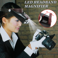 Headband 10X Magnifier Head Magnifying Glass Lens Loupe With LED Light For Handcraft Repairing