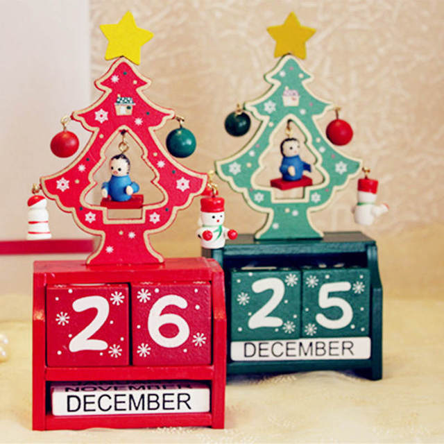 handmade wooden christmas advent calendar countdown xmas new year ornaments decor christmas tree pattern red green - Wooden Christmas Advent Calendar