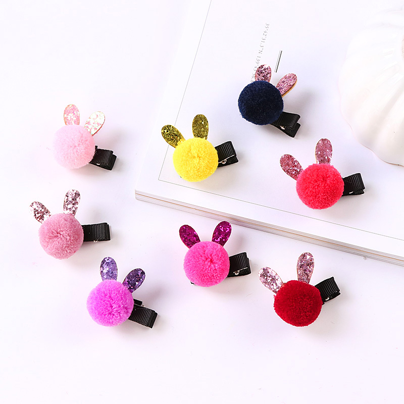 New Winter Cute Colorful Ball Rabbit Ears Little Girls Safety Hair Clip Barrettes Kids Hair Holder Hairpin Gift Hair Accessories 1 set new girls colorful carton hair clips small crabs hair claw clips mini hairpin kids hair ornaments claw clip