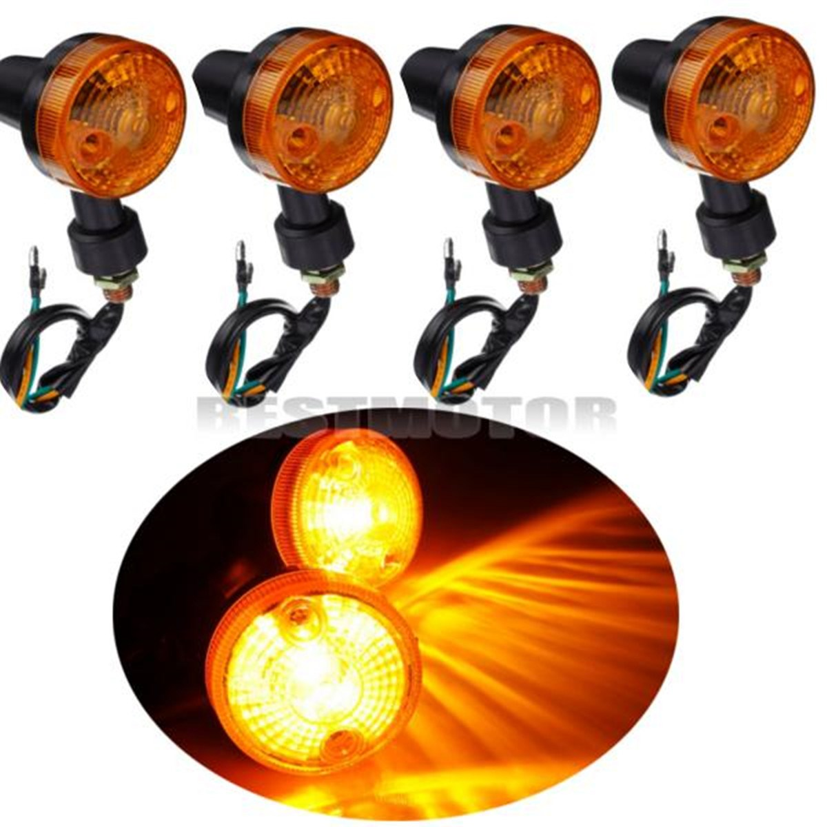 Keep Car life Store 4PCS Motor Motorcycle Turn Signal Light Direction Indicator Lamp Amber