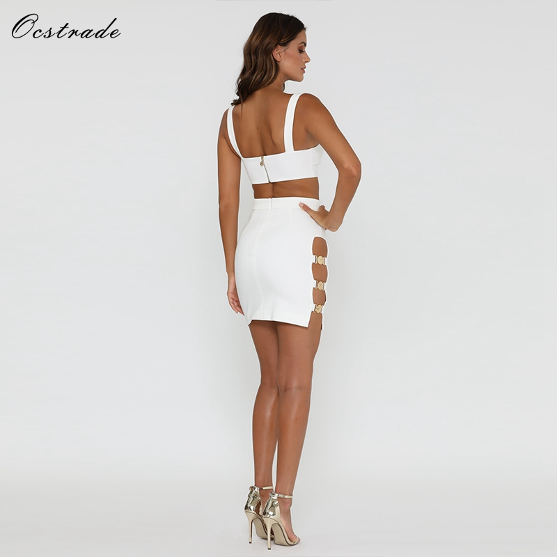 Ocstrade White Party Dress 2018 New Arrival Summer Sexy Embellished White  Women 2 Piece Dress Club Two Piece Bandage Dress Set-in Dresses from Women s  ... e8148ffb5617
