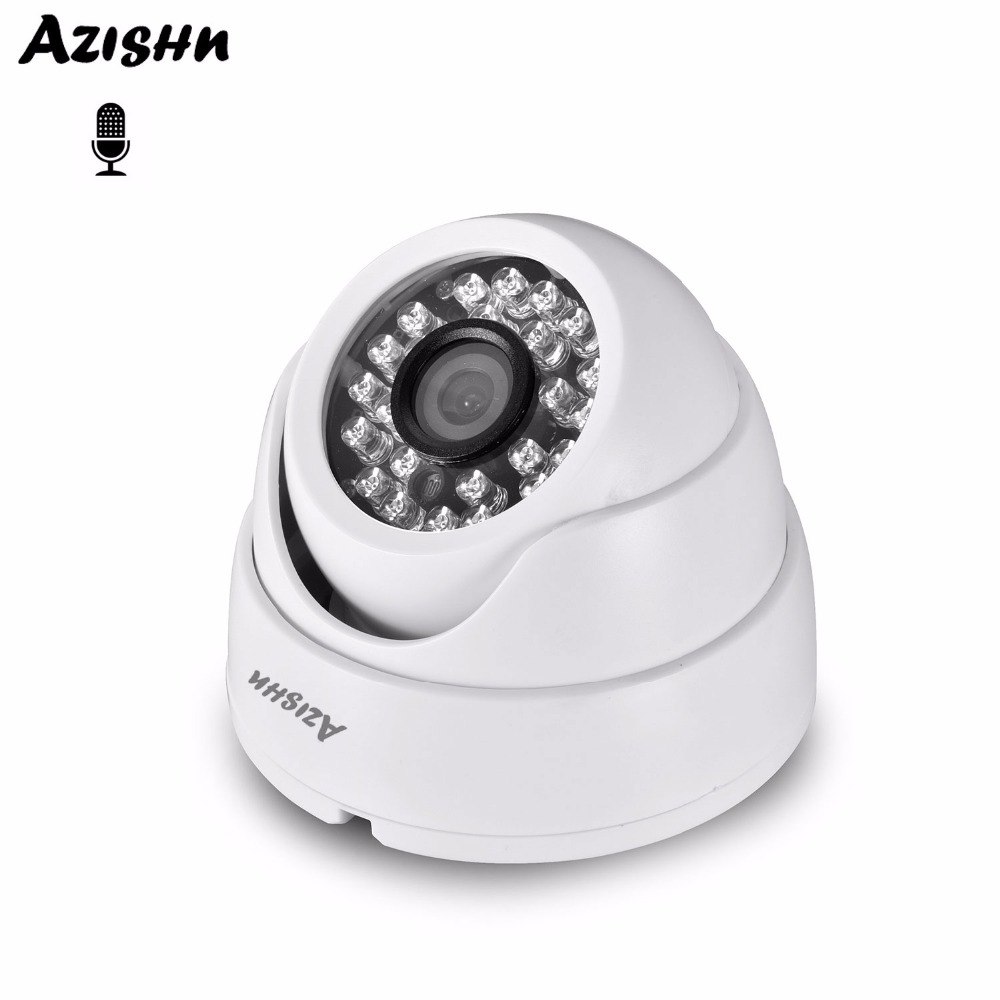 AZISHN 2MP Real Time 25FPS Security Audio IP Camera 1080P ONVIF CCTV Indoor Dome Microphone P2P Email Motion Detect 48V POE