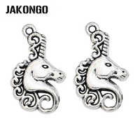 JAKONGO Antique Silver Plated Unicorn Charms for Jewelry Making DIY Handmade Necklace Pendants 26x15mm 20pcs/lot