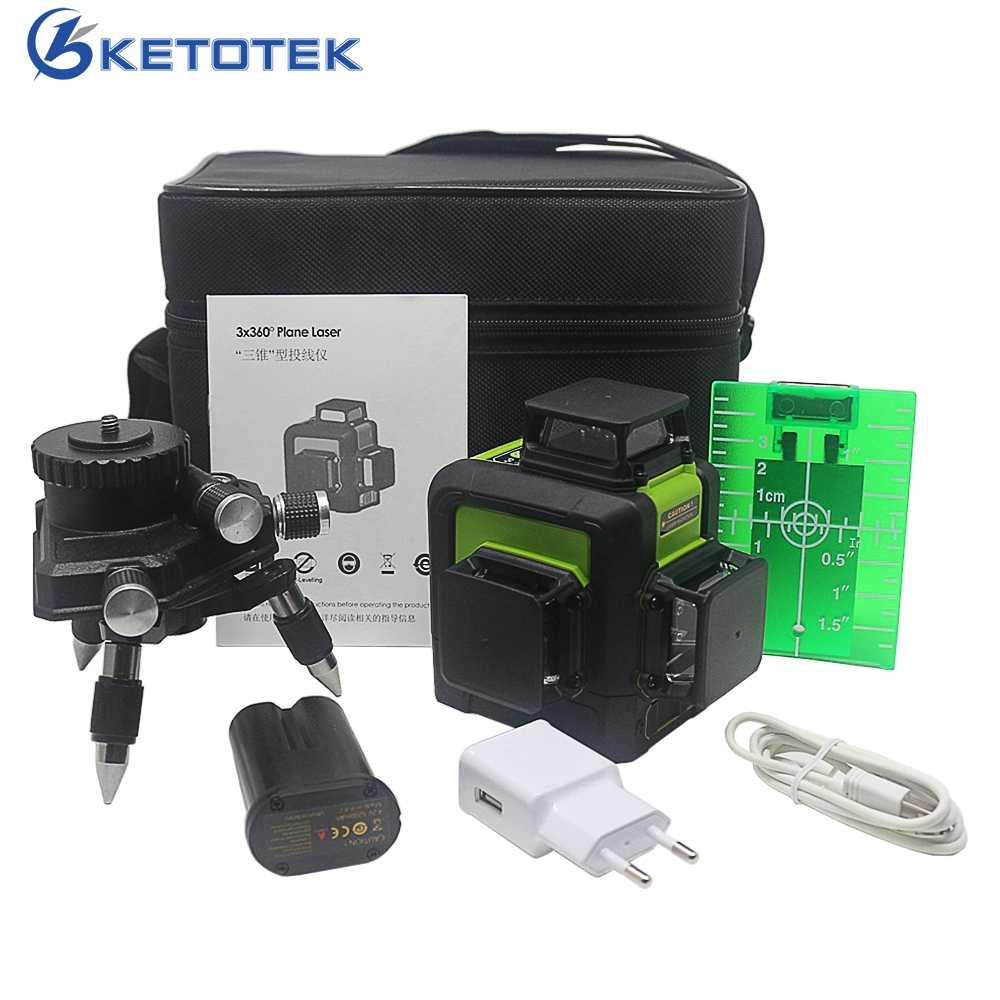 KETOTEK 12 Lines 3D Laser Level 360 Degree Self- leveling Vertical & Horizontal Cross Line With Outdoor Pulse Mode