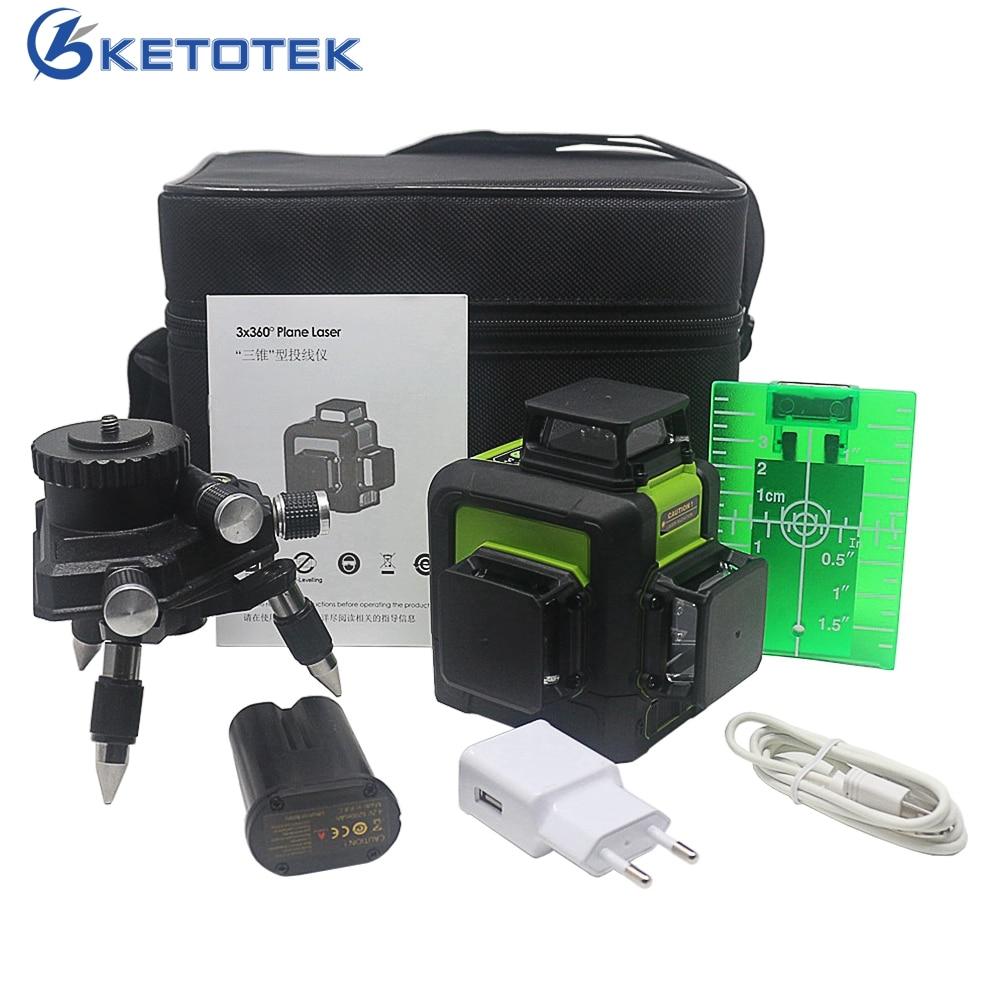 KETOTEK 12 Lignes 3D Laser Niveau 360 Degrés Auto-nivellement Vertical et Horizontal Croix Ligne Avec En Plein Air Mode D'impulsion