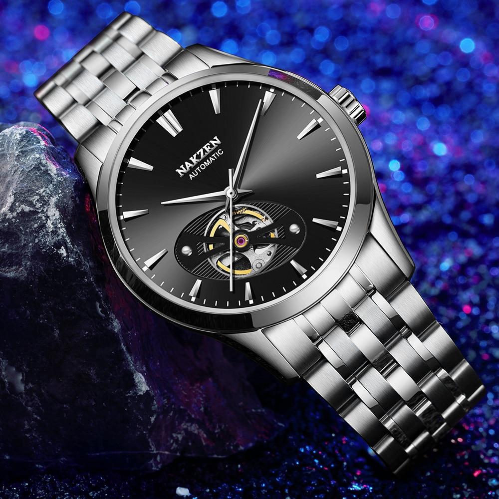 Nakzen 남자 중공업 자동 miyota 82s0 기계식 시계 브랜드 럭셔리 남자 사파이어 스테인레스 스틸 손목 시계 relogio masculino-에서기계식 시계부터 시계 의  그룹 1