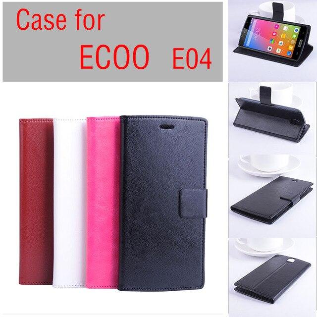 Ücretsiz kargo ECOO E04 kılıf kapak Ile Cüzdan, Kaliteli Deri Kılıf + sert Arka kapak Için ECOO E04 cep telefonu