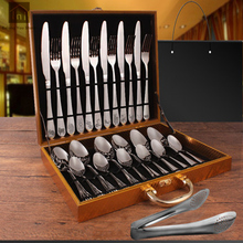 Luxury Hotel Flatware Stainless Steel 24pcs Kenife Fork Cutlery Set Portable Comping Faqueiro Em Inox Party Tableware SKI002