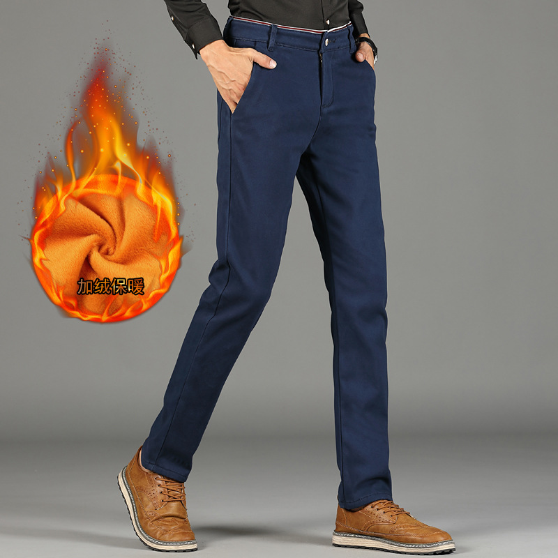 2019 New Fashion Mens Casual Fleece Warm Pants High Quality Brand Work Pants Male Clothing Cotton Formal Trousers Men