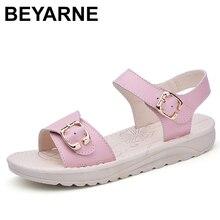 BEYARNEGenuine Leather Womens Summer Beach Sandals Shoes Ladies Flat Flip Flops Slippers Casual Female Gladiator Sandals Shoe