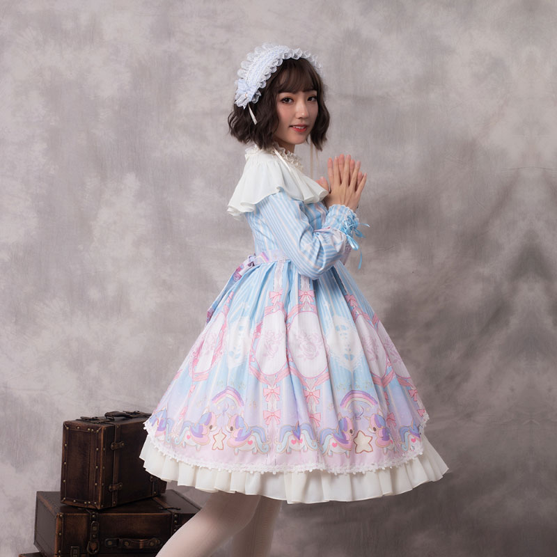 Unicorn ~ Long Sleeve Lolita Dress Mori Girl Princess Dress by YLF