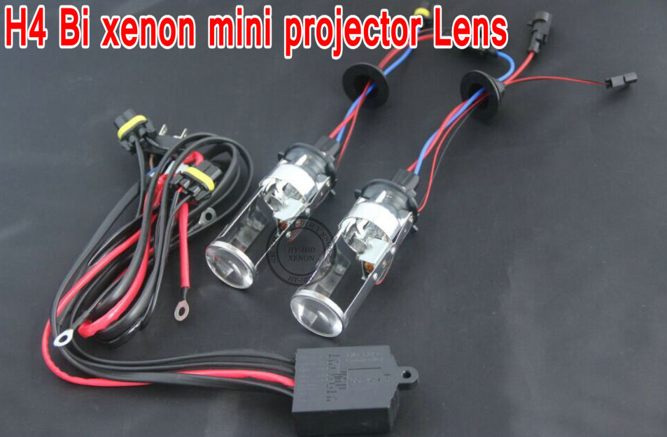 Free shipping newest product H4 HID Bi xenon H4 H/L projector lens for car headlight with high and low  control line free shipping dland a4l hid bi xenon projector lens d2s 3 0 inch for bosch