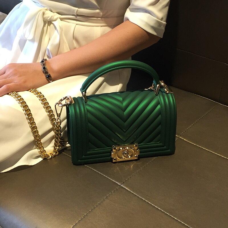e62cd0a72e23 Купить Летняя брендовая желе мешок Для женщин Мини Курьерские сумки цепи  Flap Crossbody Bag для Для женщин дизайнерские кожаные сумочки Луи Виттон  сумка ...