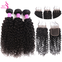 Peruvian Kinky Curly Hair 3Bundles With Lace Closure Human Hair Bundles With Closure 100% Real Beauty Remy Hair Weave Extensions