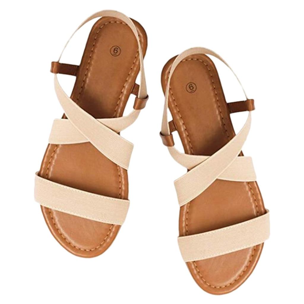HTB1EmNdayLrK1Rjy1zdq6ynnpXa2 2019 Women's Sandals Spring Summer Ladies Shoes Low Heel Anti Skidding Beach Shoes Peep-toe Fashion Casual Walking sandalias