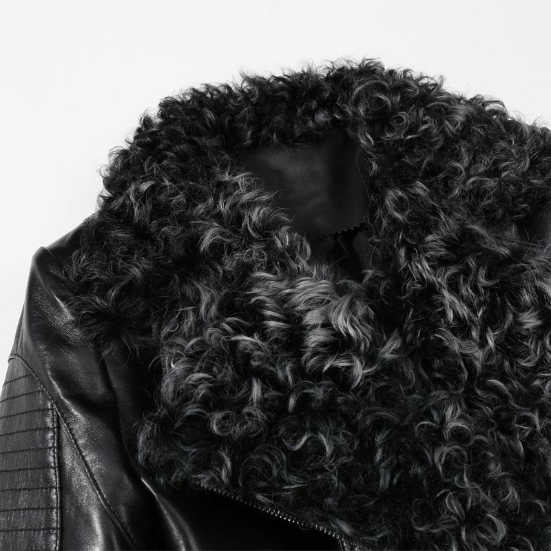 Peau De Laine Col Hiver Punk Femmes En 2018 Réel Véritable D'hiver Noir Bomber Manteau Fourrure Veste Cuir Dames Vêtements Mouton wgOqp7x