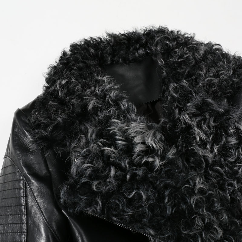 Printemps Laine 2019 Peau Punk Fourrure Noir Mouton Cuir En Manteaux Véritable Femmes Col Bomber Veste Réel Dames Vêtements De ZZx0Hdr7q