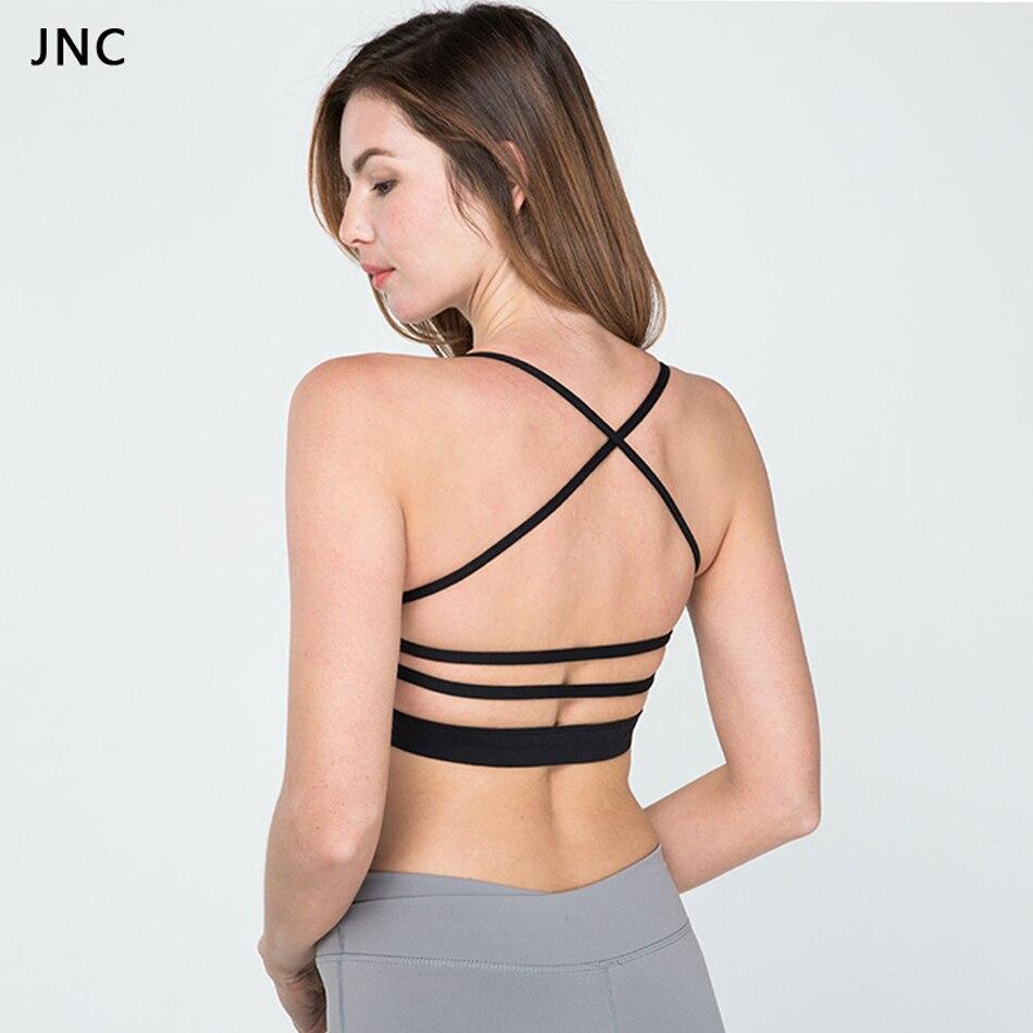 e749bcad61674 Women padded strap sports bra yoga tops activewear workout clothes jpg  950x950 Strap cross back sports