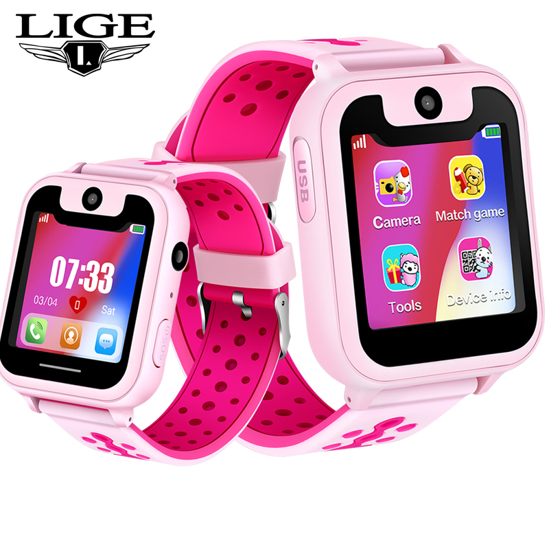 LIGE New Children Phone Watch LBS Positioning Remote Monitoring Security SOS Emergency Call Support SIM Card relogio