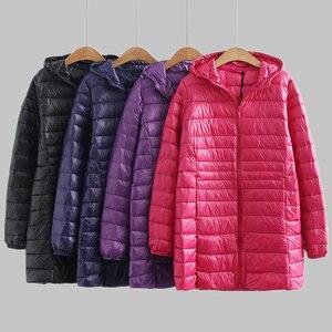 Image 1 - 새로운 가을 겨울 플러스 크기 6xl 다운 재킷 여성 울트라 라이트 화이트 오리 코트 파커 긴 슬림 후드 여성 outwear rh1340