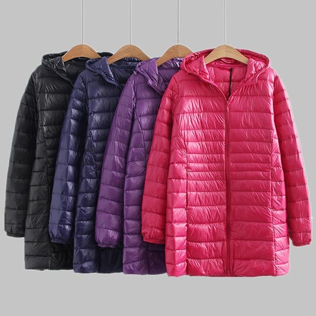 새로운 가을 겨울 플러스 크기 6xl 다운 재킷 여성 울트라 라이트 화이트 오리 코트 파커 긴 슬림 후드 여성 outwear rh1340