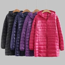 Nowa jesienno zimowa Plus rozmiar 6XL dół kurtki kobiety Ultra lekki biały płaszcz z kaczego puchu parki długa obcisła z kapturem kobiet znosić RH1340