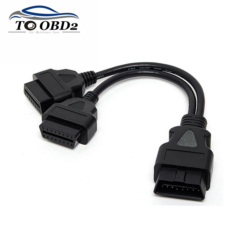 A+++ Quality 30CM OBD2 16 Pin Cable Extension Splitter Male To Dual Female Y OBD 16Pin Cable 1-2 OBD Connector Adapter