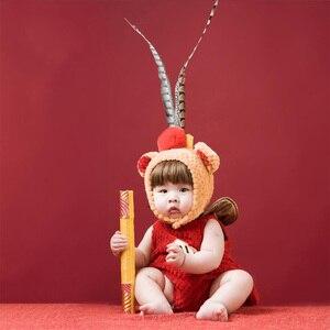 Accessoires de photographie pour bébés | costume roi singe pour nouveau-né, accessoires photo Sun Wukong, tenue infantile fotografia Kungfu, cadeau de noël pour bébés