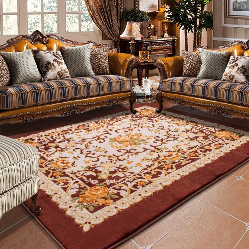 Honlaker European Retro Large Living Room Carpet Big Bedroom Rugs Table Decorative Carpets Super Soft Thickening