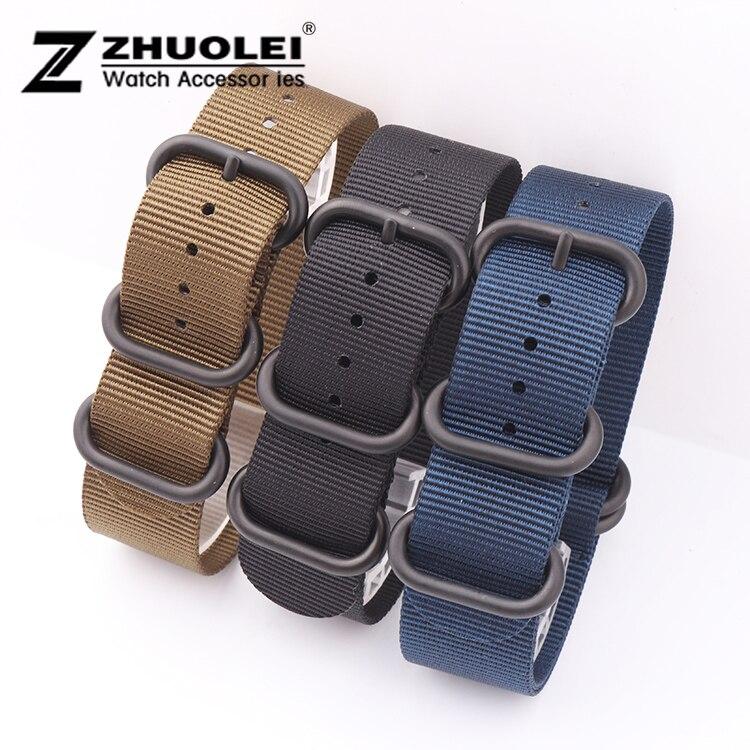 18mm 20mm 22mm 24mm for ZULU Black Army Green Blue Nylon Fabric Watchband Strap nato omega цена