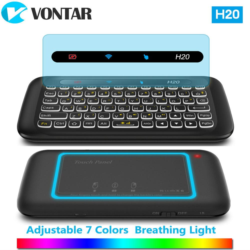 de69a20b1a9 VONTAR 2.4GHz Wireless Air Mouse H20 Keyboard with Backlight Touchpad  Learning Function for Android TV Box