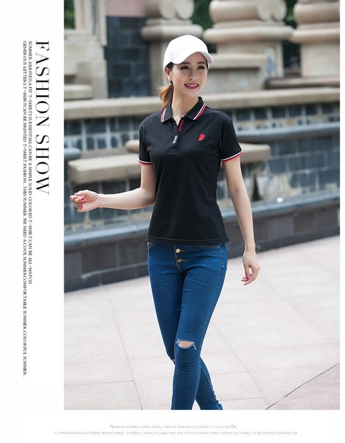 cb2037626 women polo clothing military lapel long sleeve cotton polos femmes print  camiseta polo feminina new manufacturers supply female