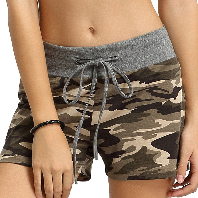 Sports Running Shorts Women Gym Short Pants Female Yoga Loose Sport Wear Ladies Elastic Adjustable Flex Camouflage Jogging Suit