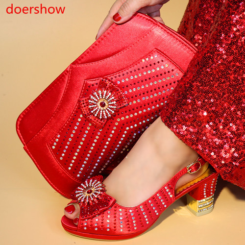 doershow blueShoes and Bag To Match Italian Women Shoe and Bag To Match for Parties African Shoes and Bags Matching Set  HYY1-13